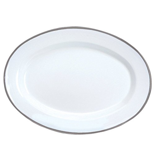 Enamelware Oval Plate, 11.75 inch, Vintage White/Grey