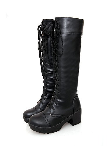 Uk6 Mujer Casual Xzz Cn37 Eu37 5 Eu39 Zapatos De Redonda us6 Exterior 5 Punta Oficina Vestido Y Tacón 7 Cerrada cuero Robusto Botas Uk4 Black 5 Cn39 White us8 Trabajo E6H6xwqr
