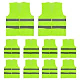 Racol Safety Vest 10 Pack, Bright Breathable Neon Yellow Safety Reflective Vest Outdoor Works Silver Strip Lightweight Mesh Velcro in Front, Fits Men Women