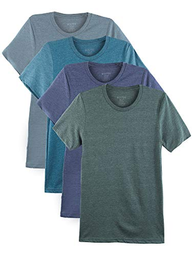 Bolter 4 Pack Men's Everyday Cotton Blend Short Sleeve T-Shirts (XX-Large, Heather - Charcoal Deep Heather