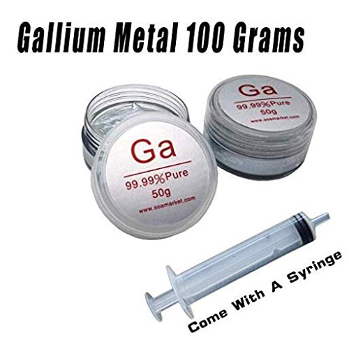 Gallium Metal 100 Grams 99.99% Pure Melting Metal Low Melting Point Metal Ga Science Projects Fast Prime Shipping