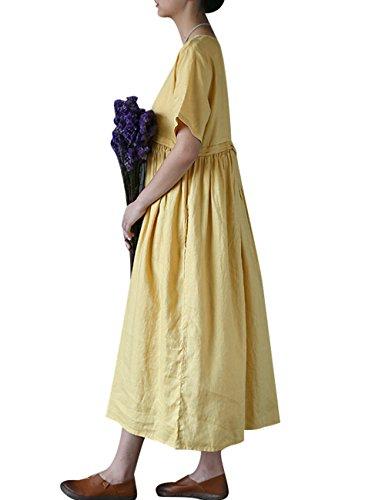 Youlee Mujeres Verano Primavera Corto Manga Alinear Vestir Estilo 1 Amarillo