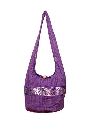 Hippie Bohemian Hobo Bag Cotton Elephant Purple Crossbody Avarada Sling Messenger Purse Thai H6EFWF