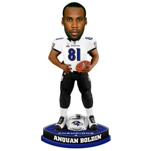 Forever Collectibles - Baltimore Ravens Anquan Boldin Forever Collectibles Super Bowl 47 Champ Ring Bobble Head