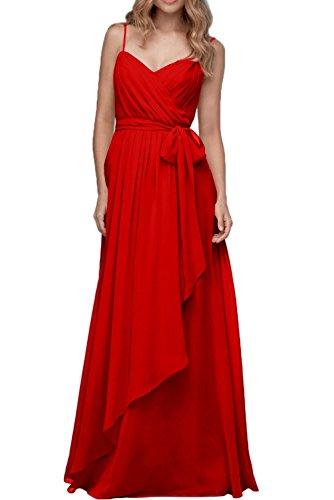 Partykleid Rot Traeger Neu Abendkleider Neu Chiffon Lang Ivydressing Damen Band wqUgCC