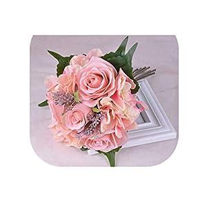 meiguiyuan Dark Pink Wedding Bouquet Bridal Holding Flowers Handmade Rose Artificial Flowers Bridal Bouquets 120