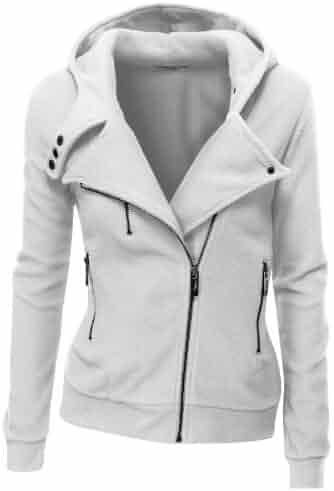 9ae08f9401e Doublju Fleece Zip-Up High Neck Jacket for Women with Plus Size