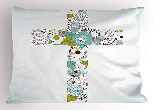 Ustcyla Religious Pillow Sham, Flowers Blessing Spring Blossom Newborn Celebration Party Illustration, Decorative Standard Queen Size Printed Pillowcase, 30 X 20 inches, Seafoam Avocado Green