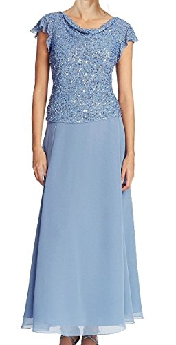 J Kara Women's Flutter Sleeve Embellished Maxi Dress Blue 16