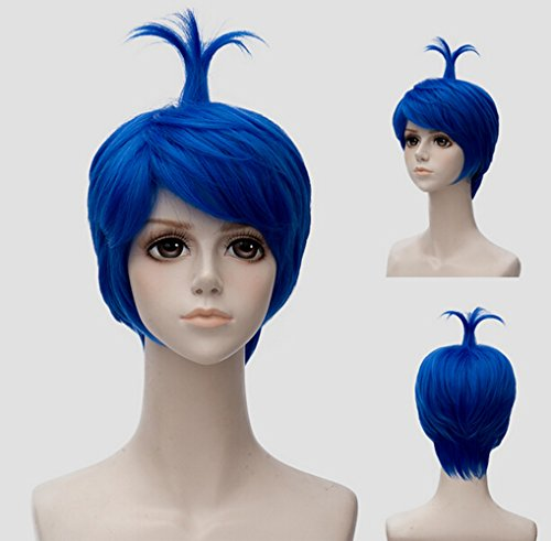 CYY Mall Heat-resisit Cartoon Halloween Cosplay Short Royal Blue Wig Natural Costume Anime Party Daily Hair with Wig (Old Halloween Cartoons)
