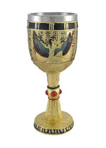 Egyptian Winged Isis Golden Wine Goblet 6 -