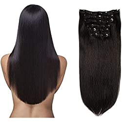 """Lovbite Hair Clips on Hair Brazilian Virgin Hair Clip In Extensions 24"""" Grade 8A Remy Human Hair Double Weft 7Pieces/Lot 100g 16Clips (24""""-80g,Jet Black #1)"""