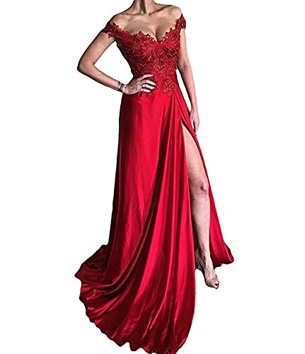 Con Di Di Del Collo Promenade Raso Sexy Partito L'abito Sera Vestito Rosso Donne Sa007 Da V Formale Split Delle wHq1ZBg