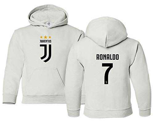 Spark Apparel Soccer Shirt #7 Cristiano Ronaldo Juve CR7 Boys Girls Youth Hooded Sweatshirt (White, Youth Medium)