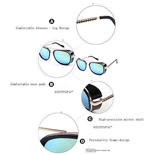UV400 B Sol Gafas Vintage Mujer HALORI de Vacaciones Color Gafas para Hombre de Sol para conducción F protección 1nE6aA