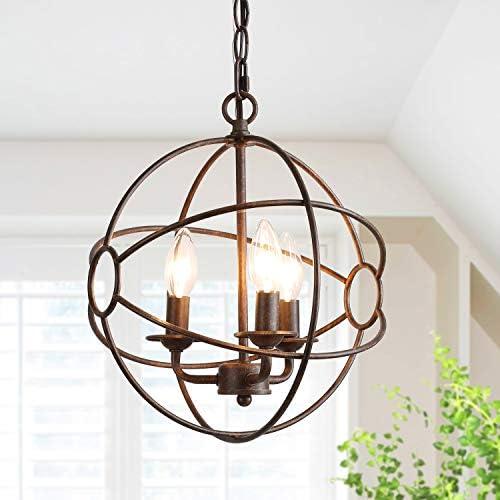 Globe Chandeliers for Kitchen Island, Industrial Pendant Lighting for Dining Room, Rustic Hanging Light Fixtures, Bronze Finish, 11.8 in Diameter
