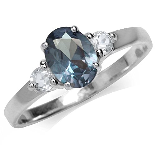 Simulated Color Change Alexandrite White Gold Plated 925 Sterling Silver Engagement Ring Size (Simulated Alexandrite Ring)