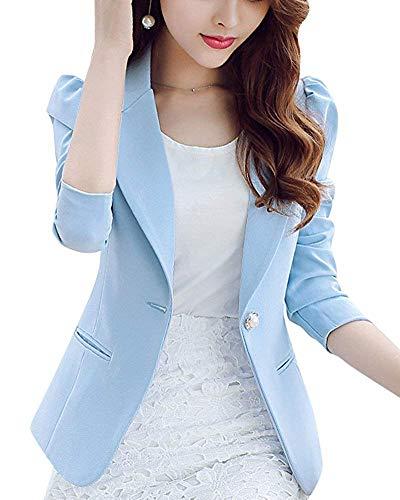 Slim coloré Oudan Bleu L Fit Femme Taille Ciel Blazer qwEHEOB