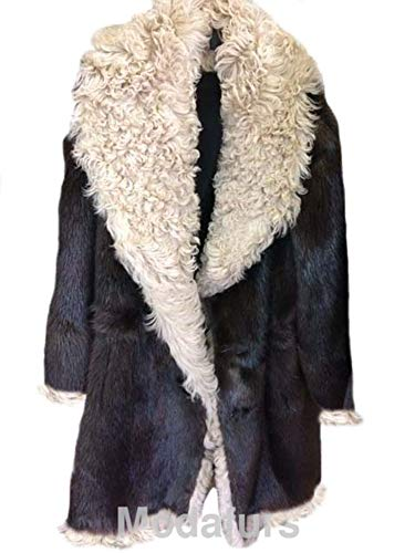 - Men's Size 46 XL New Beaver Fur Coat with Curly Lamb Fur Vin Diesel Brown