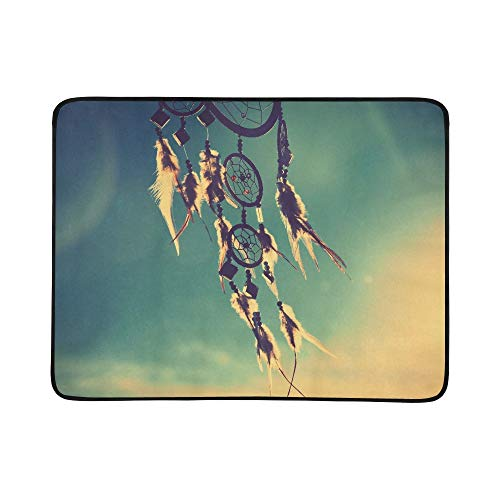 Dream Catcher with Sky at Sunset in Background Pattern Portable and Foldable Blanket Mat 60x78 Inch Handy Mat for Camping Picnic Beach Indoor Outdoor Travel