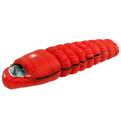 Klymit KSB 20 Degree Down Sleeping Bag with Stretch Baffles, Red