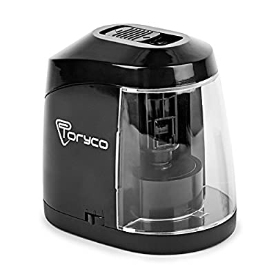 Electric Pencil Sharpener - Mechanical Colored Pencil Sharpener - Black Small Drawing Pencil Sharpener - Best Portable Kid Friendly Auto Pencil Sharpener - Professional Sharpener for Office Classroom