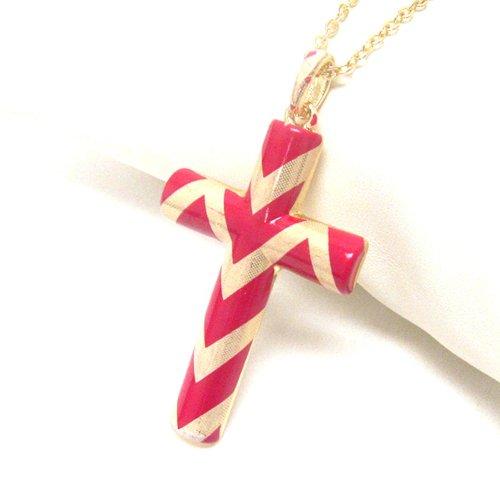 (Arras Creations Premier Electro Plating Colored Chevron Deco Cross Pendant Necklace / AZFJLO031-GFU)
