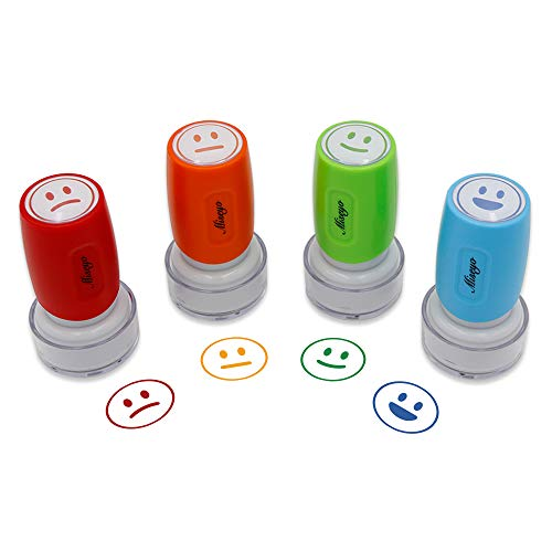 Miseyo Pre-Ink Teacher Stamp Set - 4 Color Mood Expressions ()