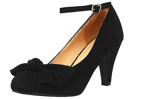 Chase & Chloe Retro Retro Kimmy-67-bow Voor Faux Suede Mary-jane Pumps Zwart