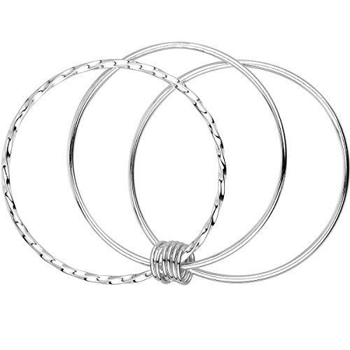 Merdia 925 Sterling Silver Bangle Bracelets Fashionable Three Interlocking for Girls and Women 2.4