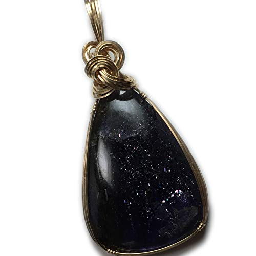 Iolite Sunstone Pendant 14k Gold - Filled with Black Leather Necklace, Elegant Gift Box, Rocks2Rings Jewelry g2