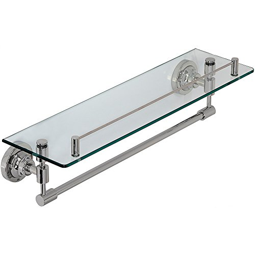 Classical Design Polished Chrome Glass Shelf | Premium Quality Stainless Steel Towel Shelf with Hanging Bar | Traditional Wall Mounted Fixture |  Bathroom Toiletries or Entrance - Paper Toilet Chrome Holder Glass