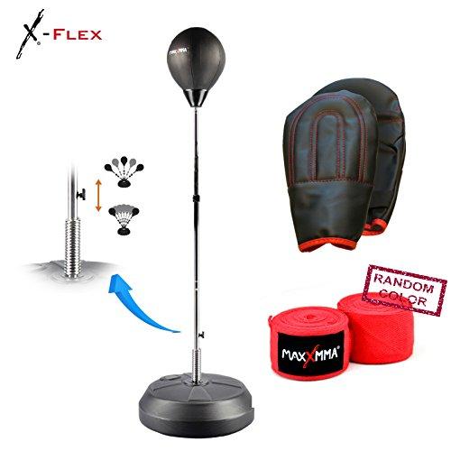 MaxxMMA Speed-Adjustable Freestanding Reflex Bag Kit + 180'' Nylon/Poly Hand Wrap by MaxxMMA