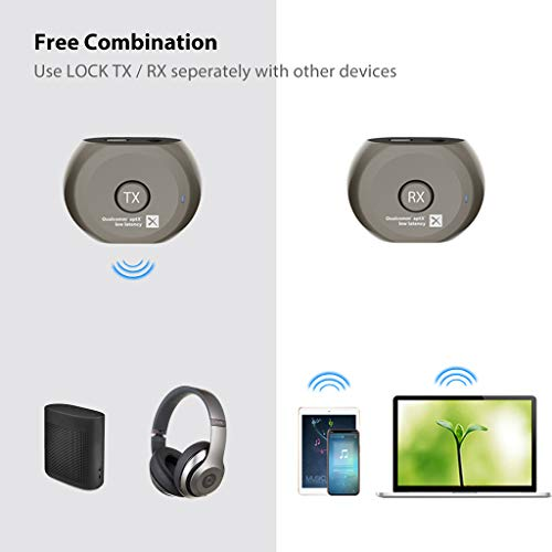f1cc74a3325 Avantree Lock Portable Pre-paired aptX Low Latency Bluetooth Transmitter  and Receiver Audio Adapter Set