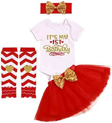302f0db4636e Newborn Baby Girls It s My 1st Birthday Infant Outfits Romper Shiny Printed  Sequin Bowknot Tutu Skirt