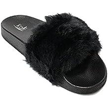 Kali Footwear Women's Flip Flop Faux Fur Soft Slide Flat Slipper Limit