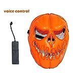 TAOtTAO LED Light Up Pumpkin Skull Face Mask Flashing Luminous Halloween Costume Party (B 23cm×9cm×10cm)
