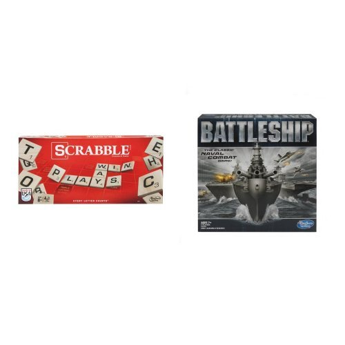 Hasbro Scrabble Crossword Game and Battleship Game Bundle
