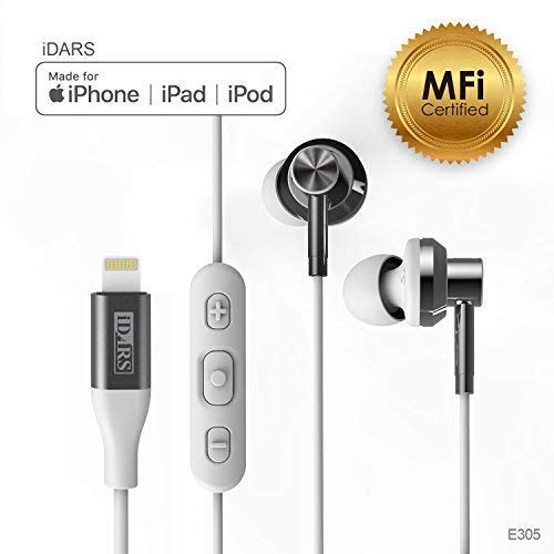 iDARS Lightning Headphone Earbud Earphone Apple MFi Certified in-Ear Wired Headsets with Mic and Remote for iPhone X/XS/XS Max/XR/ 8/ 8Plus/ 7/ 7Plus, iPad Pro/Air/Mini, iPod (White)