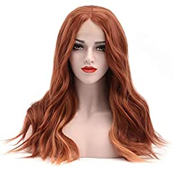 Imiss Hair Glueless Red Copper Lace Front Wigs Loose Wavy 18Inch Orange Side Part Hair Style Synthetic full Ginger Wig Heat Resistant Fiber for Women Girls