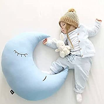 Happyshop - Cojín con Forma de Luna para Dormir, sofá, sofá, Asiento de Coche, decoración para el hogar, algodón, Azul, Large