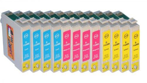 Start - 12 Ersatz Druckerpatronen kompatibel zu Epson T0712, T0713, T0714 (444) für Epson Stylus D120, D78, D92, DX4000, DX4050, DX4400, DX4450, DX5000, DX5050, DX5500, DX6000, DX6050, DX7000F, DX7400, DX7450, DX8400, DX8450, DX9200, DX9400F, Office B40W, BX300F, BX310FN, BX510W, BX600FW, BX610FW, S20, S21, SX100, SX105, SX110, SX115, SX200, SX205, SX210, SX215, SX218, SX400, SX400 WiFi, SX405, SX405 WiFi, SX410 ,SX415 ,SX417 ,SX510W ,SX515W ,SX600FW, SX610FW