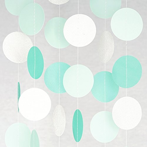 Chloe Elizabeth Circle Dots Paper Party Garland Backdrop (10 Feet Long) - Aqua, Mint, Pearl White (Robins Egg Blue Pearls)