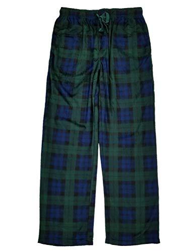 (Joe Boxer Mens Green & Blue Plaid Microfleece Sleep Pants Lounge Pants Pajama Bottoms XL)
