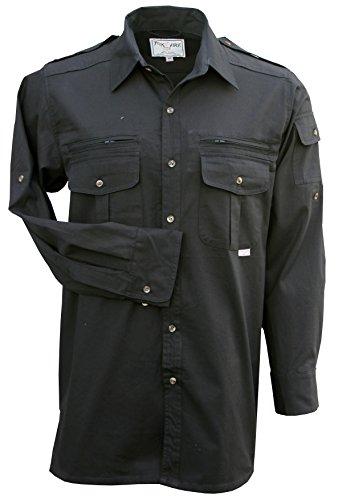 Foxfire Thunder River Gear Mens Long Sleeve Cotton Travel Safari Passport Shirt (Large, Tactical Black)
