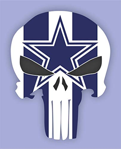 Kramer sticker's shop Set of 2 Punisher Dallas Cowboys Vinyl Stickers Skull 5