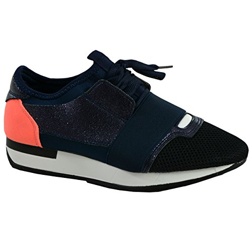 Cucu Fashion New Womens Lace Up Glitter Sparkle Trainers Ladies plimsolls Sneakers Shoes Navy Orange CV9Hr