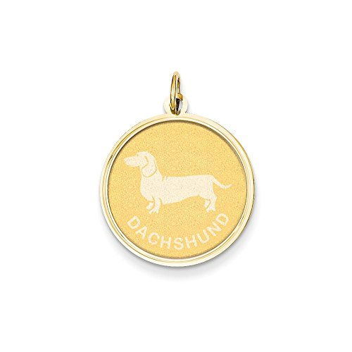 14k Gold Dachshund Disc Charm Pendant (1.02 in x 0.79 in) ()
