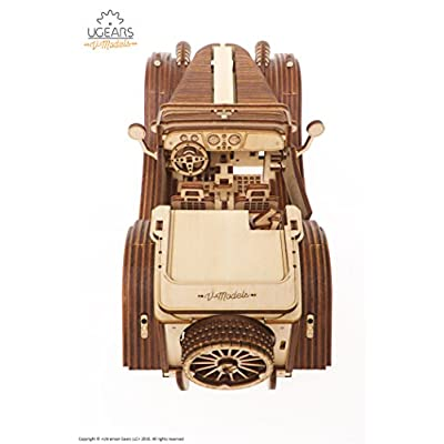 UGears Mechanical Models 3-D Wooden Puzzle - Mechanical Roadster VM-01: Toys & Games