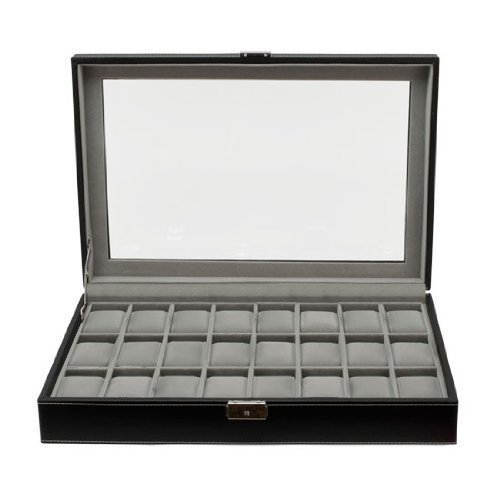 Clevr Watch Box Large 24 Mens Black Leather Display Glass Top Jewelry (Jewelry Display Case 24 Slot)